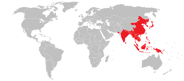 World map highlighting in red Asian countries such as China, Japan and Korea as high risk regions for Japanese encephalitis