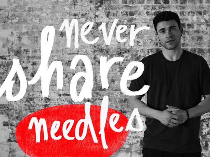 Image: Young Aboriginal man. Text: Never share needles.